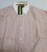ラグビーRUGBYラルフローレンRALPH LAUREN新品ボタンダウンシャツSストライプうすオレンジ系X白系他オックスフォード長袖シャツ